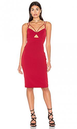 Платье миди cutaway Bardot. Цвет: красный