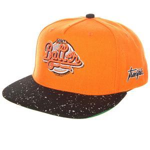 Бейсболка с прямым козырьком  Splatter Baller Orange TrueSpin. Цвет: оранжевый,черный