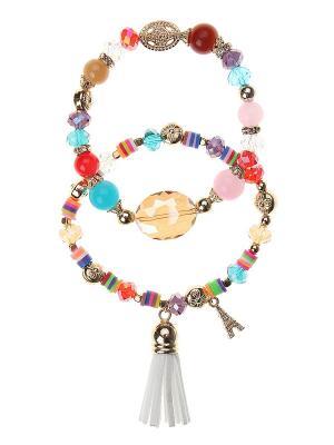 Комплект (Браслет - 2 шт.) Gusachi. Цвет: розовый, золотистый, голубой, бежевый, красный