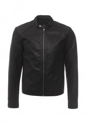 Куртка кожаная Jack & Jones. Цвет: черный