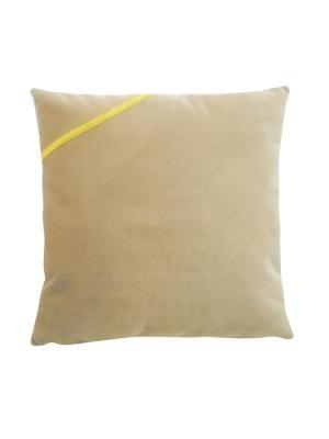 Декоративная подушка Классика с серерянной тесмой LACCOM. Цвет: коричневый, бежевый