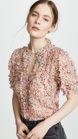 Short Sleeve Margo Floral Top Rebecca Taylor