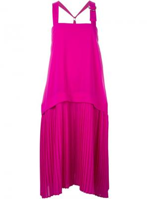 Плиссированное платье Kenzo. Цвет: розовый и фиолетовый
