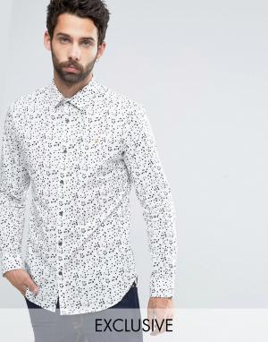 Farah Узкая рубашка стретч с принтом. Цвет: белый