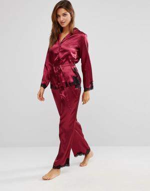 Boux Avenue Атласный пижамный комплект Peta. Цвет: красный