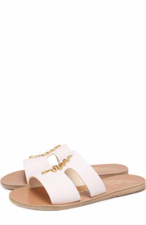 Кожаные шлепанцы Apteros с декором Ancient Greek Sandals. Цвет: белый