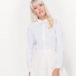 Рубашка с красивым воротником, из хлопка MADEMOISELLE R. Цвет: небесно-голубой