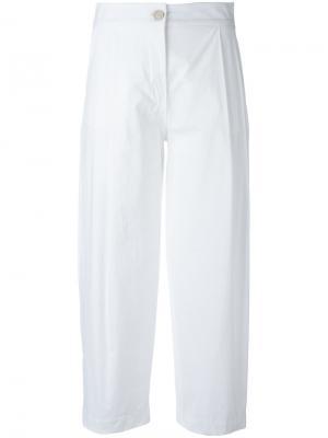 Укороченные брюки со складками Erika Cavallini. Цвет: белый