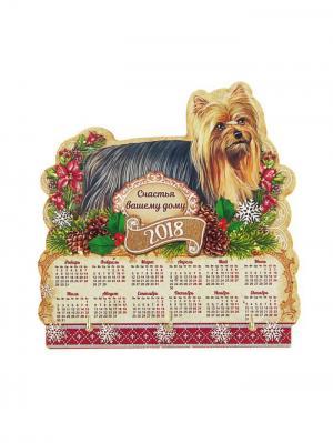 Ключница-календарь Новогодняя ярмарка. Цвет: антрацитовый, бежевый, красный