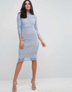 Forever Unique Кружевное платье-футляр миди с высоким воротом. Цвет: синий