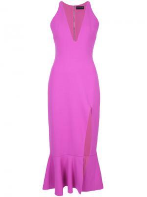 Приталенное платье с V-образным вырезом David Koma. Цвет: розовый и фиолетовый