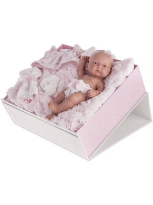 Кукла-младенец Карла в чемодане, розовом, 26см Antonio Juan. Цвет: бледно-розовый