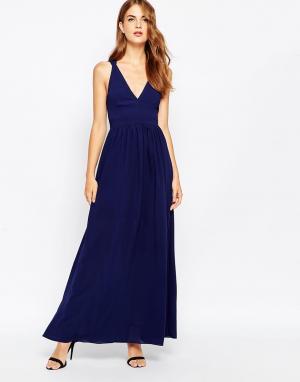 Adelyn Rae Платье макси с глубоким вырезом. Цвет: темно-синий