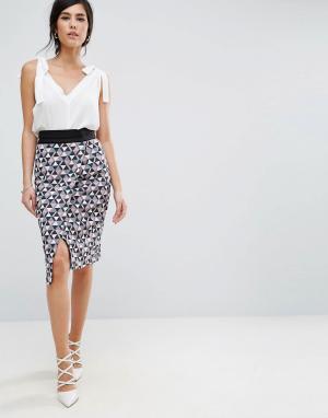 Closet London Короткая юбка с запахом. Цвет: мульти