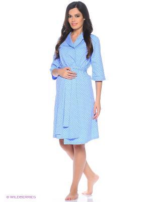 Комплект женский для беременных и кормящих (халат+сорочка) Hunny Mammy. Цвет: голубой, синий