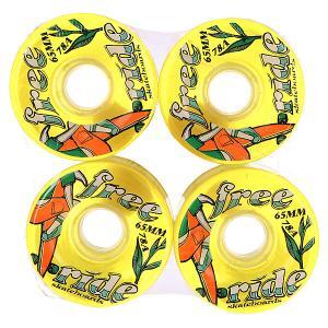 Колеса для скейтборда лонгборда  Freeride 6 Wheels Yellow/Green/Brown 78A 65 mm Sector 9. Цвет: желтый