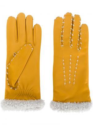 Перчатки с контрастной окантовкой Agnelle. Цвет: жёлтый и оранжевый