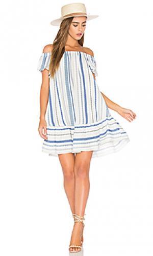 Платье в полоску с открытыми плечами Eight Sixty. Цвет: синий