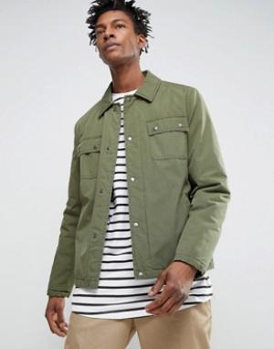 ASOS Спортивная куртка цвета хаки в стиле милитари. Цвет: зеленый
