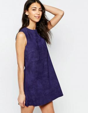 Muubaa Замшевое цельнокройное платье мини Anstey. Цвет: синий