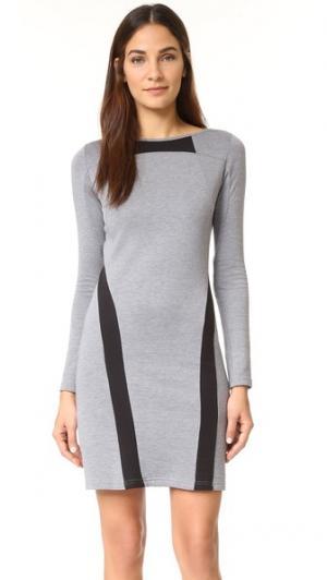 Платье  из трикотажа двойной вязки Y-3. Цвет: умеренно-серый меланж/черный