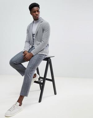 Selected Homme Трикотажный блейзер. Цвет: серый