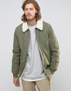 ASOS Спортивная куртка хаки на подкладке борг. Цвет: зеленый