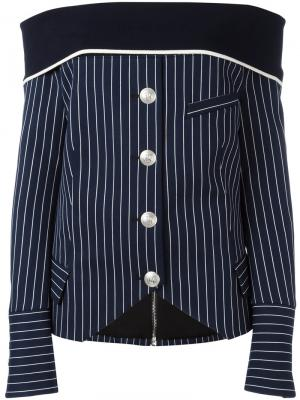 Полосатая рубашка с открытыми плечами Pierre Balmain. Цвет: синий
