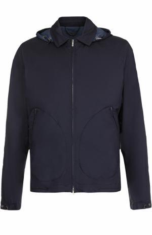 Куртка на молнии с капюшоном Cortigiani. Цвет: темно-синий