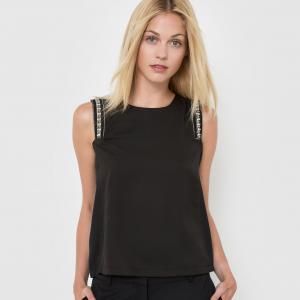 Блузка без рукавов с круглым вырезом MOLLY BRACKEN. Цвет: черный