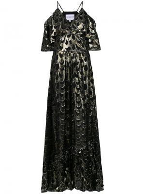 Платье с оборками и отделкой металлик Perseverance London. Цвет: чёрный