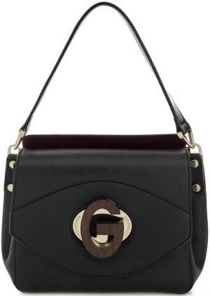 Маленькая кожаная сумка с откидным клапаном Gironacci. Цвет: черный