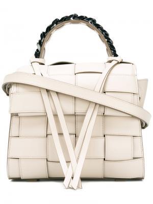 Плетеная сумка Elena Ghisellini. Цвет: телесный