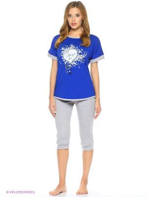 Домашний костюм-футболка и бриджи NAGOTEX. Цвет: синий