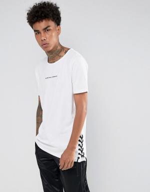 Criminal Damage Белая футболка с кружевными вставками. Цвет: белый