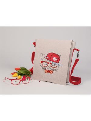 Набор для вышивания. Сумка со сменным клапаном Хип-хоп кот Матренин Посад. Цвет: серый,красный,белый
