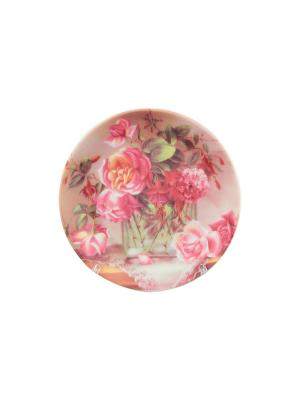 Тарелка декоративная Ваза с цветами Elan Gallery. Цвет: розовый