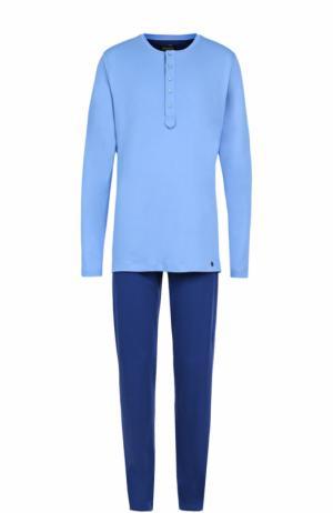 Хлопковая пижама с брюками Hanro. Цвет: голубой