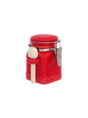 Баночка для специй Красная с цветами Elan Gallery. Цвет: красный