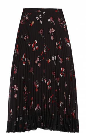 Плиссированная юбка-миди с цветочным принтом REDVALENTINO. Цвет: черный
