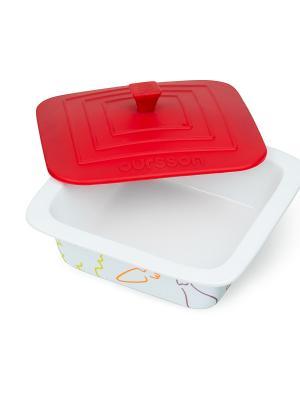 Форма для приготовления керамическая квадратная с силиконовой крышкой OURSSON. Цвет: красный, белый