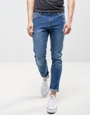 LDN DNM Светло-синие облегающие джинсы. Цвет: синий