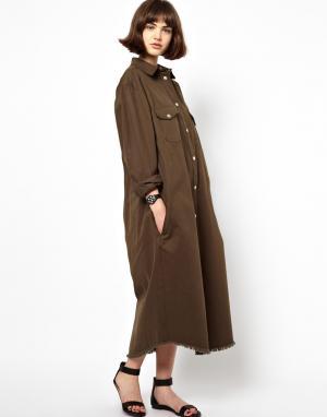 Пальто-рубашка BACK By Ann-Sofie Ann Sofie. Цвет: армейский