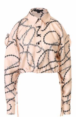 Укороченная шелковая блуза с открытыми плечами Alexander Wang. Цвет: розовый