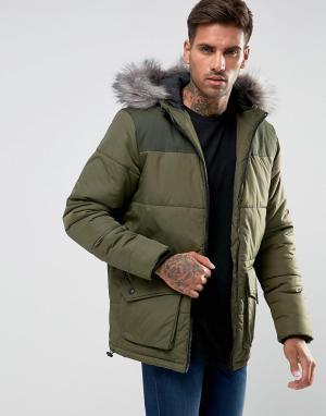 Another Influence Стеганое пальто с капюшоном. Цвет: зеленый