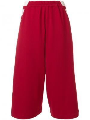 Укороченные широкие брюки Y-3. Цвет: красный