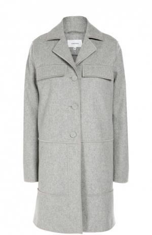 Шерстяное пальто прямого кроя с карманами Carven. Цвет: серый
