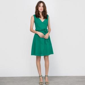 Платье с V-образным вырезом R édition. Цвет: зеленый