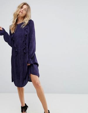 Y.A.S Платье с длинными рукавами и рюшами Serry. Цвет: темно-синий
