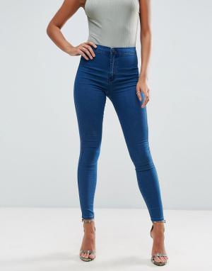 ASOS Темные джинсы с завышенной талией RIVINGTON New Blair. Цвет: синий